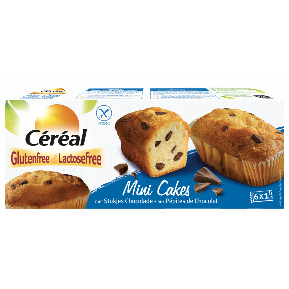 Cereal Glutenvrij en Lactosevrij Mini Cakes Chocolade 6st