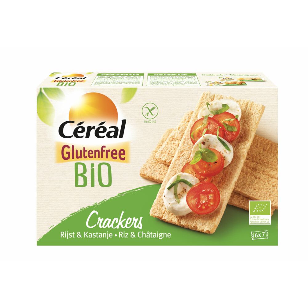 Cereal Glutenvrij Bio Crackers Rijst-Kastanje 250gr
