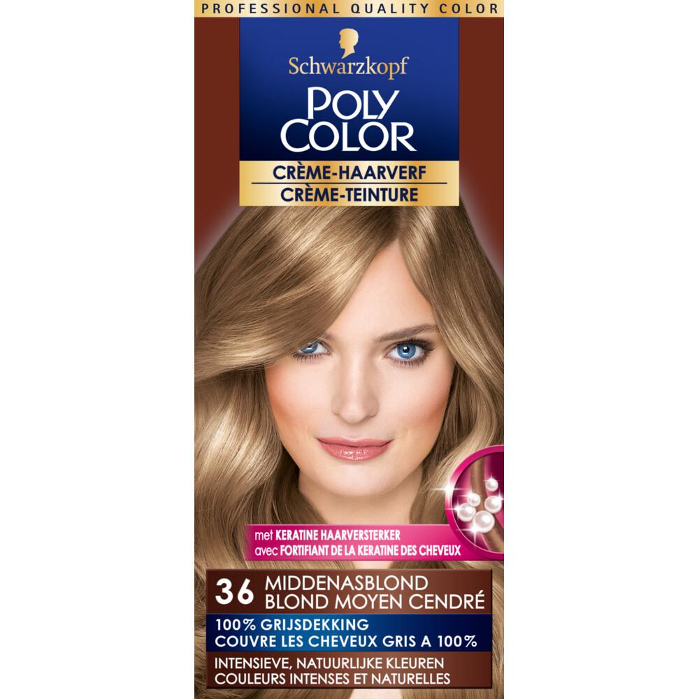 Poly Color Créme Permanente Haarverf 36 Midden Asblond 90 ml
