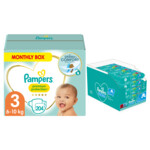 Pampers Premium Protection maandbox maat 3 en 12x Pampers Babydoekjes Fresh Clean Pakket