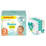 Pampers Premium Protection Luiers Maat 3 en Pampers Billendoekjes Sensitive 15x80=1200 doekjes Pakket