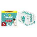 Pampers Baby-Dry Pants maandbox maat 6 116 luierbroekjes en Aqua Pure 864 billendoekjes Pakket
