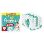 Pampers Baby-Dry Pants maandbox maat 5+ 120 luierbroekjes en Aqua Pure 864 billendoekjes Pakket