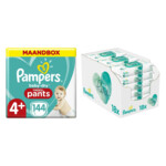 Pampers Baby-Dry Pants maandbox maat 4+ 144 luierbroekjes en Aqua Pure 864 billendoekjes Pakket
