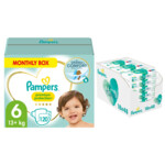 Pampers Premium Protection maandbox maat 6 120 luiers en Aqua Pure 864 billendoekjes Pakket