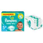 Pampers Baby-Dry maandbox maat 5+ 132 luiers en Aqua Pure 864 billendoekjes Pakket
