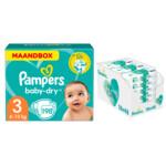 Pampers Baby-Dry maandbox maat 3 198 luiers en Aqua Pure 864 billendoekjes Pakket
