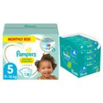 Pampers Premium Protection maandbox maat 5 136 luiers en Fresh Clean 1200 billendoekjes Pakket