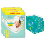 Pampers Premium Protection maandbox maat 1 216 luiers en Fresh Clean 1200 billendoekjes Pakket