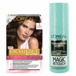 L'Oréal Excellence Creme 3 Donkerbruin + Magic Retouch Uitgroeispray Bruin 75 ml Pakket