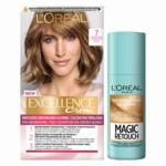L'Oréal Excellence Creme Haarverf 7 Middenblond + Magic Retouch Uitgroeispray Middenblond 75 m Pakket