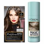 L'Oréal Preference Haarkleuring 04 Tahiti - Middenbruin + Magic Retouch Uitgroeispray Middenbruin 75 ml Pakket