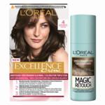 L'Oréal Excellence Creme Haarverf 4 Middenbruin + Magic Retouch Uitgroeispray Middenbruin 75 ml Pakket