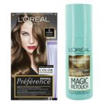 L'Oréal Preference Haarkleuring 06 Ombrie - Donkerblond + Magic Retouch Uitgroeispray Donkerblond 75 ml Pakket