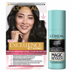 L'Oréal Excellence Creme 1 Zwart + Magic Retouch Uitgroeispray Zwart 75 ml Pakket