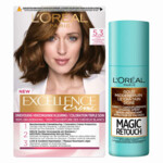 L'Oréal Excellence Creme Haarverf 5.3 Licht Goudbruin + Magic Retouch Uitgroeispray Goud Middenbruin 75 ml Pakket