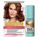 L'Oréal Excellence Creme Haarverf 6.54 Donker Mahonie Koperblond + Magic Retouch Uitgroeispray Donkerblond 75 ml Pakket